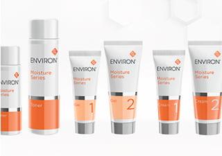 エンビロンモイスチャーシリーズの化粧品が並んだ写真