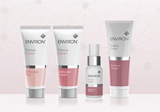 エンビロンフォーカスケアシリーズの化粧品が並んだ写真